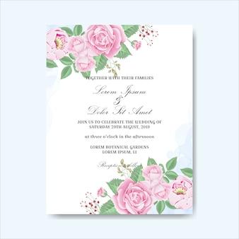 結婚式の招待状の手描きの花