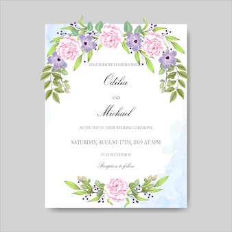 美しい花の結婚式の招待カードとテンプレート