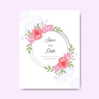 Свадебные приглашения с красивыми листьями и цветком