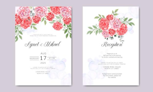 美しい花とレトロな結婚式の招待カード