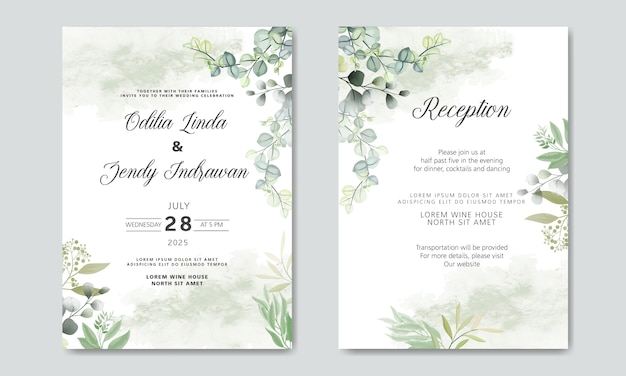 美しくエレガントな花の結婚式の招待カード