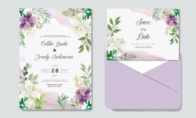 Свадебное приглашение с красивым и элегантным цветочным