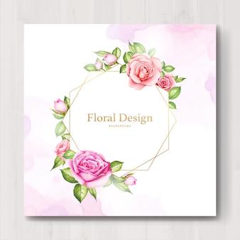 水彩花と葉のウェディングカード