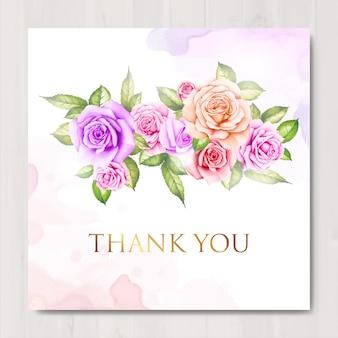 水彩花柄と葉のお礼カード