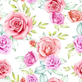 水彩花と葉のシームレスパターン