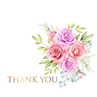 美しい水彩画の花の花束とありがとうカード