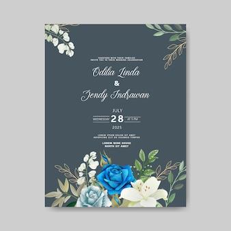 美しい花の結婚式の招待カード