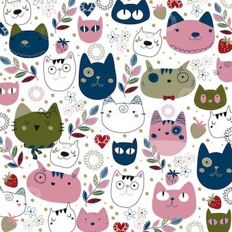 ピンクとネイビーの猫のイラスト