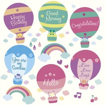 誕生日のためのかわいい熱気球