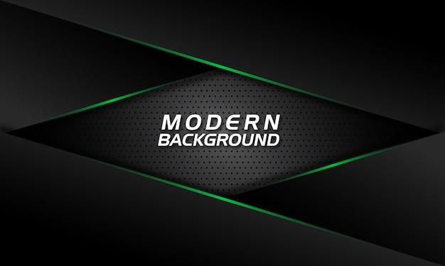 暗い黒の背景に現代の緑色光線