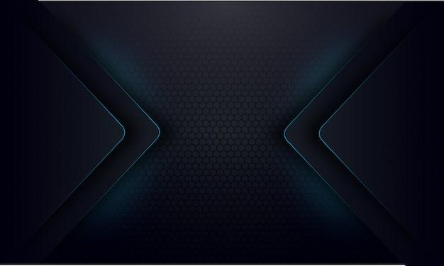 暗い背景に抽象的な青いグローライン