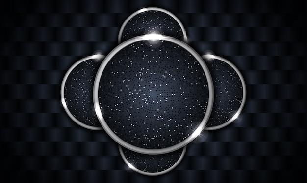 Современный фон с абстрактной формой с серебряным кругом свечения