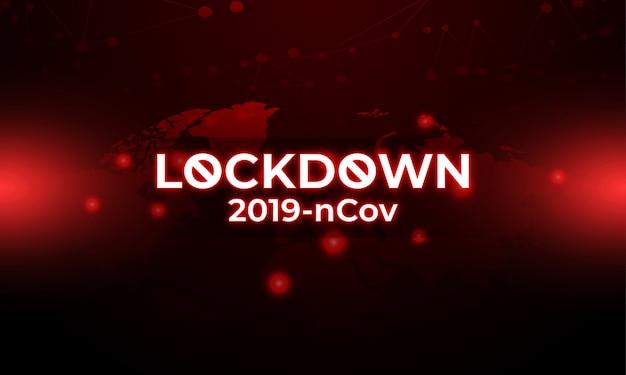 世界地図と暗い赤の背景ライトでコロナウイルスのロックダウン