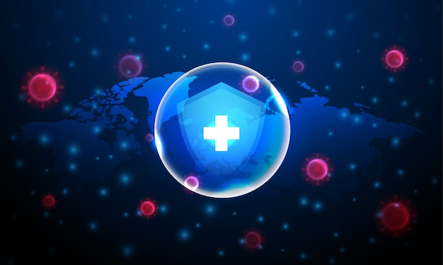 青い背景と世界地図で赤いコロナウイルス細胞による保護をシールドします。