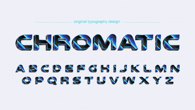 青いクロム太字の未来的なタイポグラフィ