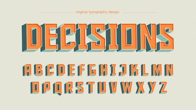 Винтажный оранжевый квадратный художественный шрифт