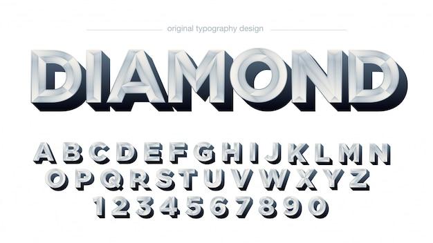 明るい銀メタリック大文字のアルファベット