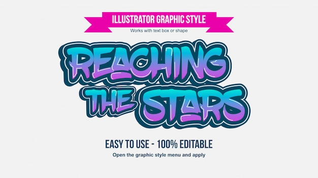 Неоновые фиолетовые и синие кисти граффити редактируемые типографии