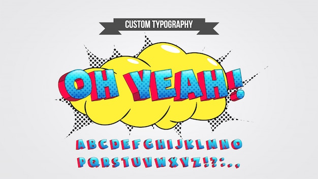 Синий и красный классический комикс типография