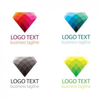 ダイヤモンド形状のロゴのカラフルなセット