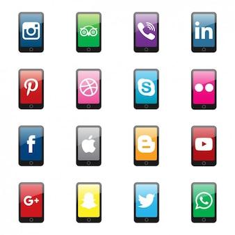 ソーシャルネットワークのロゴスマートフォンコレクション