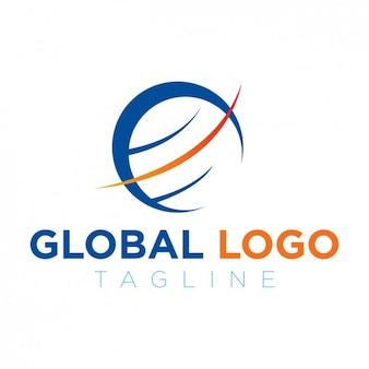 Глобальный логотип синий и оранжевый