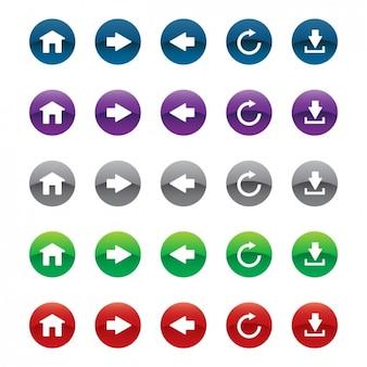 Веб-кнопок, установленных в различных цветах