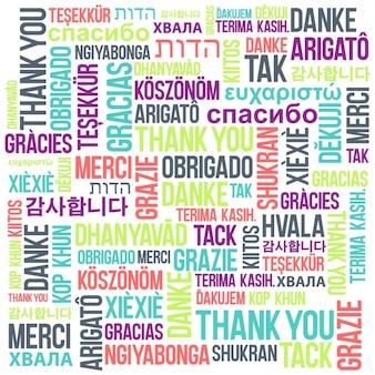 異なる言語の背景に「ありがとうございました」