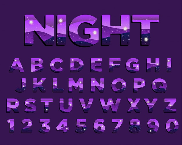 紫色の抽象的な夜のタイポグラフィデザイン
