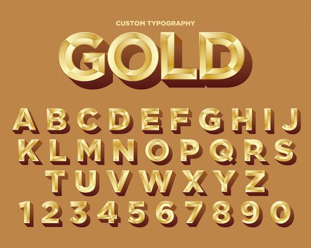 Элегантный золотой типографский дизайн шрифта