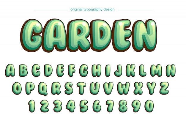 活気に満ちたバブルグリーンコミックタイポグラフィデザイン