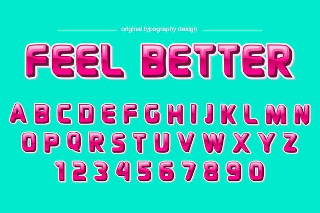 Красочный розовый комический дизайн типографика