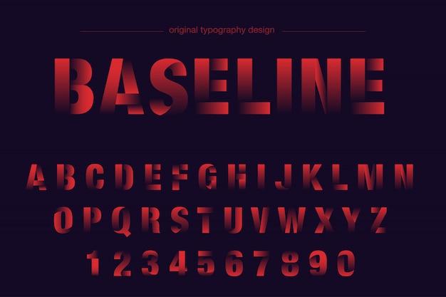 Красный жирный нарезанный дизайн типографика