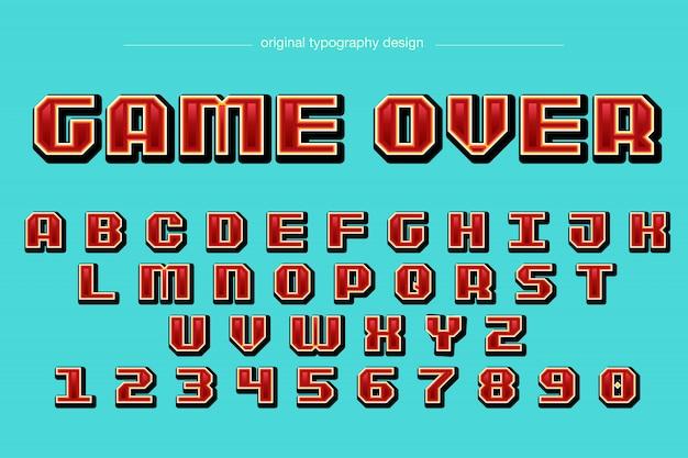 ピクセルスタイルの赤いタイポグラフィデザイン
