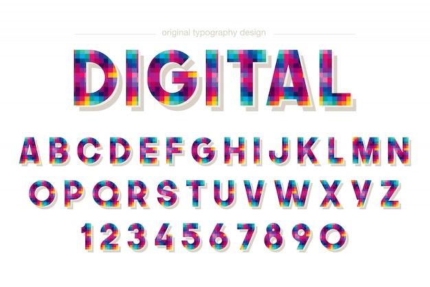 Красочный дизайн типографии пикселей