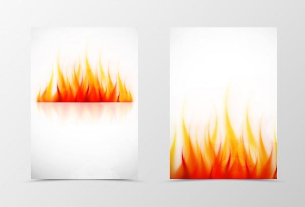 フロントとバックの火チラシテンプレートデザイン