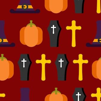 ひどい休日のためのハロウィーンのシームレスパターン。帽子魔女と墓石。カボチャとゾンビ