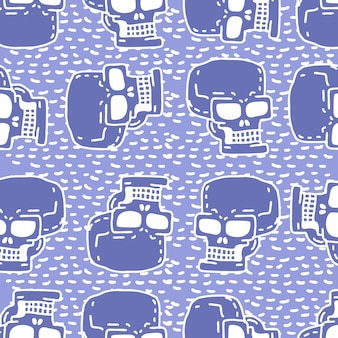 頭蓋骨漫画のシームレスパターン。スケルトンヘッドデッサン飾り。