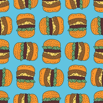 ハンバーガーの描画パターン。ビッグバーガー漫画スタイルの背景。ファーストフードの飾り