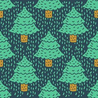 クリスマスツリーの描画パターン。モミの漫画のスタイル。スプルースの背景