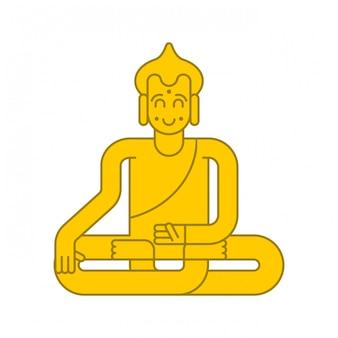 黄金の仏像。瞑想と悟り。魔法の魅力