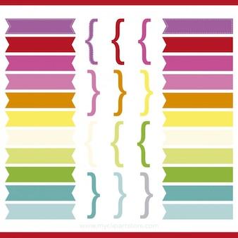 色のリボンと大括弧