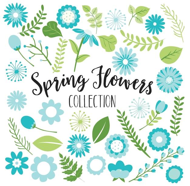 春のベビーシャワーの青緑色の花