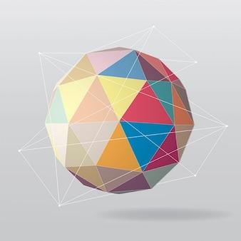 カラフルなポリゴン球体と背景