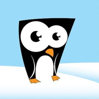 雪の中でペンギン