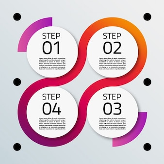 Четыре варианта с круглой формы для инфографики
