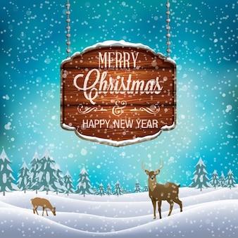 Рождество зимний пейзаж с деревянной вывеске и оленей