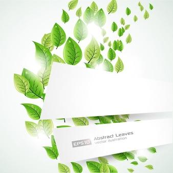 緑の葉と背景テンプレート