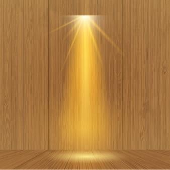 木製の壁にスポットライト