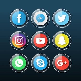 Социальные медиа стеклянные иконки
